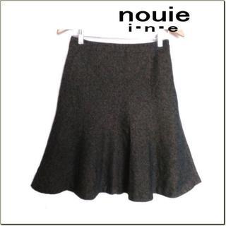 インエ(i.n.e)のnouie i.n.e◆茶黒コットンウールツイード調スカート◆フランドル◆3(ひざ丈スカート)
