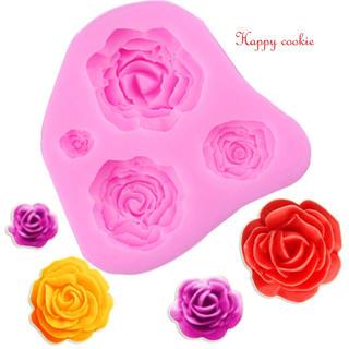 薔薇 4種 シリコンモールド(各種パーツ)