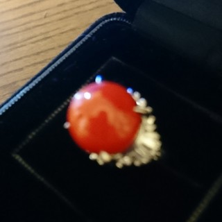 sora1様専用赤珊瑚 Pt900 12㎜ダイヤ リング(リング(指輪))