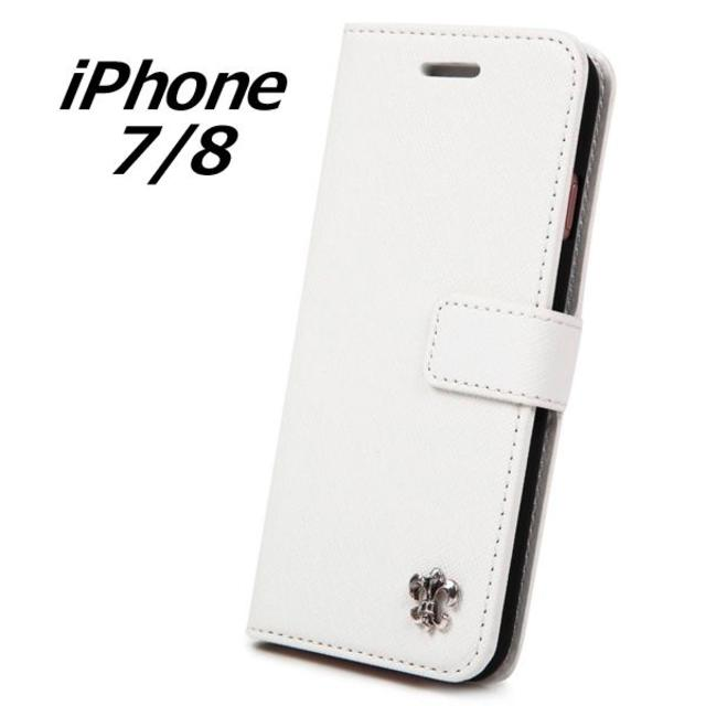 elecom iphone7 ケース | 新品 iPhone7/8 手帳型 白 百合 ケース レザー 合皮 マグネットの通販 by Frimaru's Shop|ラクマ