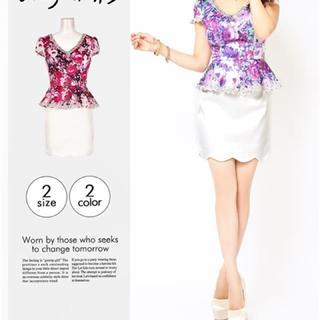 デイジー(Daisy)の新品未使用 紫花柄ビジューミニドレス キャバ嬢(ナイトドレス)