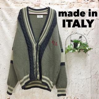 イタリア製 ウールカーディガン ニット ロゴ&ライン 毛 SISLEY
