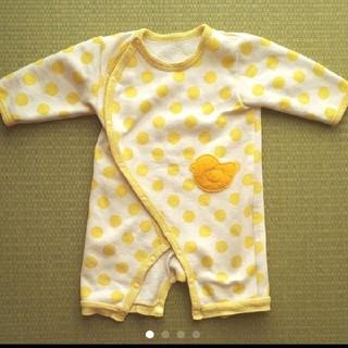 60~70サイズ 黄色ドットのひよこロンパース 長袖カバーオール(カバーオール)