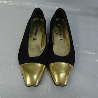 2e727e643dc0 シャネル(CHANEL)の本物シャネル靴 フラットシューズ レディースブラック黒金37(