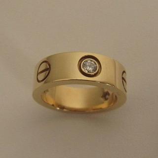 カルティエ(Cartier)のカルティエ ラブ ハーフ ダイヤモンド ピンキー リング イエロー YG 3P(リング(指輪))