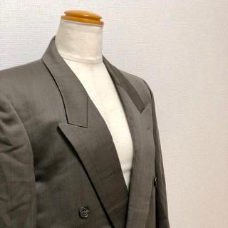80s ヴィンテージ ウール100 上質生地 バブル スーツ ブラウン メンズ(セットアップ)