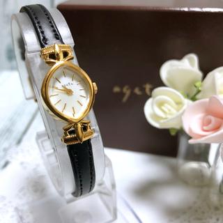 アガット(agete)の【美品】agete アガット silver シルバー 腕時計 ゴールド 革ベルト(腕時計)