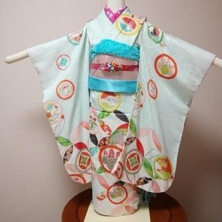 J-K-5~7-60 七五三 5歳~7歳 着物 セミアンティーク 丸紋(和服/着物)