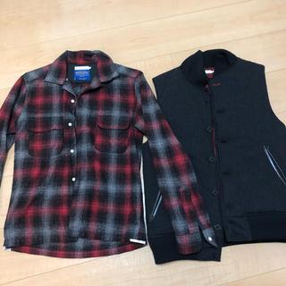 デラックス(DELUXE)のデラックス チェックシャツとダウンベストセット(ダウンベスト)