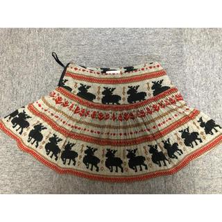 アルバローザ(ALBA ROSA)の値下げ1555→900プリーツスカート ミニ 動物ノルディック柄 アルバローザ(ミニスカート)