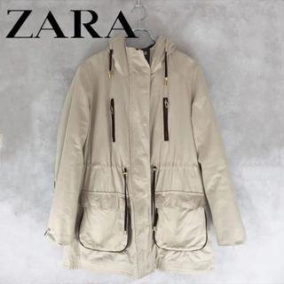 ザラ(ZARA)のZARA BASIC パーカー コート ベージュ フード 古着(ピーコート)