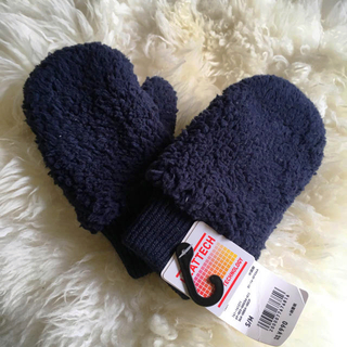 ユニクロ(UNIQLO)のユニクロ キッズ S/M ヒートテック ミトン ネイビー  フリースグローブ(手袋)