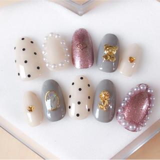 ネイルチップ グレー ピンク ネイル 薔薇 くま シンプル ガーリー コスメ/美容のネイル(つけ爪/ネイルチップ)の商品写真