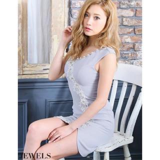 ジュエルズ(JEWELS)のjewels新品未開封ドレス☆グレーLサイズ(ミニドレス)