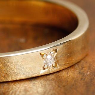 10Kイエローゴールドダイヤプレートリング (リング(指輪))