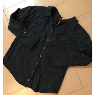 カウイジャミール(KAWI JAMELE)のKAWI JAMELE♡レースアップ シャツ ブラック(シャツ/ブラウス(長袖/七分))