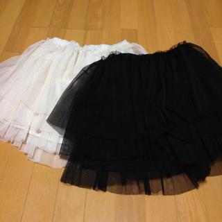 ローリーズファーム(LOWRYS FARM)のチュールミニスカート黒(ミニスカート)