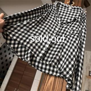 ジーユー(GU)のペプラム ブロックチェックシャツ ブラウス羽織り M GU(シャツ/ブラウス(長袖/七分))