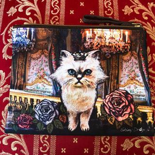 アチャチュムムチャチャ(AHCAHCUM.muchacha)の新品猫アンティーク作家ポーチ筆箱ペンケース化粧ポーチパスポート通帳猫雑貨白猫黒猫(ポーチ)