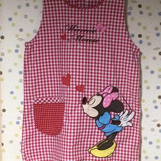 ディズニー(Disney)の保育士 エプロン ミニー 赤 チェック(日用品/生活雑貨)