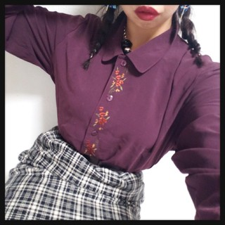 値下げ可◆*昭和レトロ/フロント刺繍パープルブラウス*◆(シャツ/ブラウス(長袖/七分))