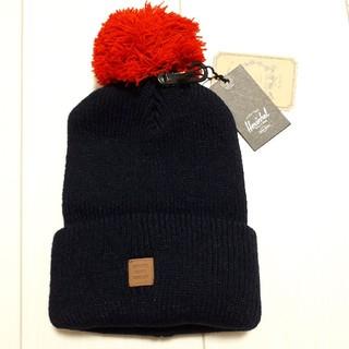 ハーシェル(HERSCHEL)の新品未使用ハーシェル黒×赤ニット帽(ニット帽/ビーニー)
