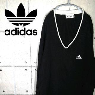 アディダス(adidas)の90s 古着 アディダス ニット セーター Vネック ワンポイント(ニット/セーター)