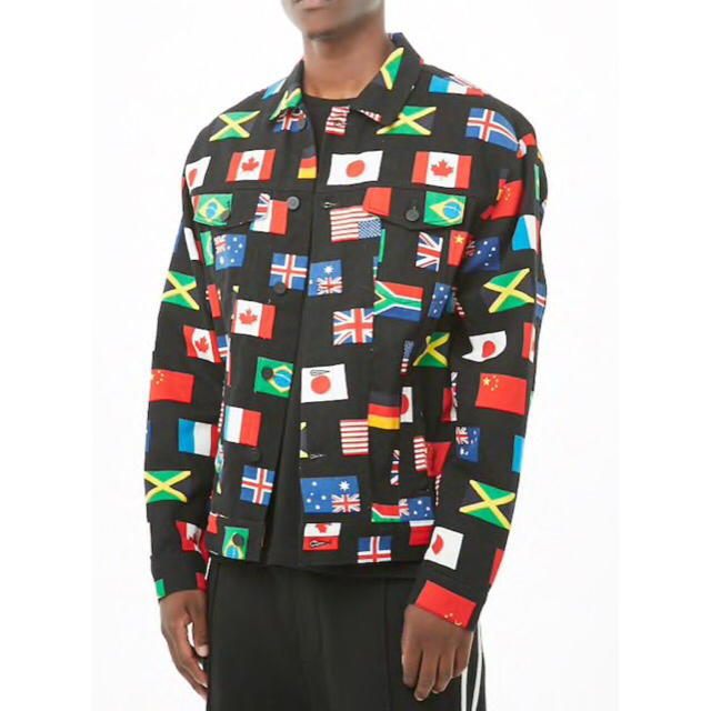 ZARA(ザラ)の完売品 フラッグ 国旗 デニム ジャケット Gジャン ユニオンジャック 星条旗 メンズのジャケット/アウター(Gジャン/デニムジャケット)の商品写真