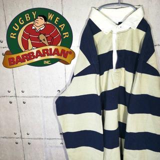 バーバリアン(Barbarian)の90s 古着 バーバリアン ラグビーシャツ カナダ製 ボーダー(スウェット)