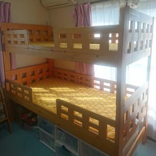 二段ベッド  ココナツパームマット付(ロフトベッド/システムベッド)