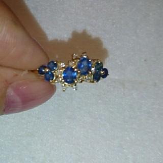 スタージュエリー(STAR JEWELRY)のコーンフラワーブルー♪サファイアダイヤモンドk18リング9号サイズ(リング(指輪))