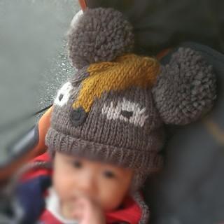 ザラ(ZARA)のZARAbabyボンボンつきニット帽動物46cm(帽子)