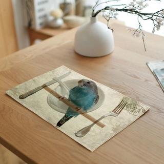 インコ 青色インコ食卓マット♪ 新品未使用品 送料無料♪(002)(鳥)