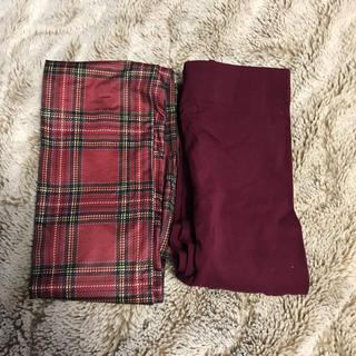 ジーユー(GU)のタイツ2枚セット ボルドー、赤チェック(タイツ/ストッキング)