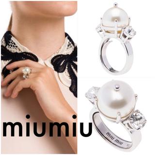 ミュウミュウ(miumiu)の専用  正規 美品 miumiu パールクリスタルリング(リング(指輪))