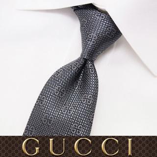 グッチ(Gucci)の【49】GUCCI グッチ 新品本物 グレー SILK ネクタイ(ネクタイ)