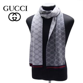 グッチ(Gucci)の【10】GUCCI グッチシマ マフラー/ストール 男女兼用 グレー×グレー(マフラー)