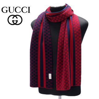 グッチ(Gucci)の【12】GUCCI グッチシマ マフラー/ストール 男女兼用 レッド×ネイビー(マフラー)