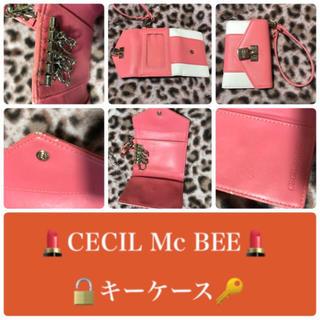 セシルマクビー(CECIL McBEE)の💓CECIL Mc BEE キーケース ピンク✖️ホワイト(キーケース)