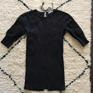 ジョンリンクス(jonnlynx)のフミカウチダ バックオープンサーマルトップス 黒(カットソー(半袖/袖なし))