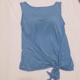 ジーユー(GU)のタンクトップ カップ付き ジム トレーニング 運動 ブルー 楽チン ルームウェア(タンクトップ)