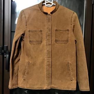 アーキ(archi)のarchi アーキ オレンジブラウン used加工 バンドカラーシャツジャケット(ノーカラージャケット)