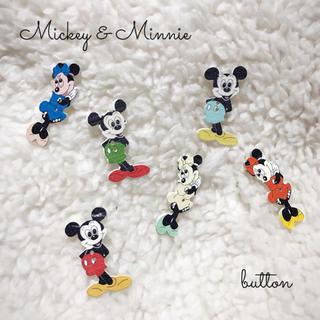 ディズニー(Disney)のミッキー&ミニー ☺︎ ボタン 6個セット ☺︎ ハンドメイド(各種パーツ)