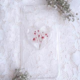 ピンクかすみ草のおしゃれiPhoneケース