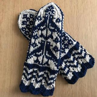 ハンドメイド ミトン 手袋 小鳥柄(手袋)