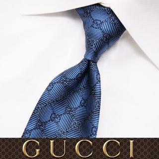 グッチ(Gucci)の【56】 GUCCI グッチ 新品本物 ブルー SILK ネクタイ(ネクタイ)
