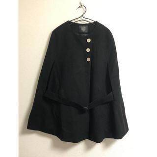 キュー(Q)のQ キュー ノーカラーコート マント 黒 ベルト付き ワンサイズ 妊婦 (ノーカラージャケット)
