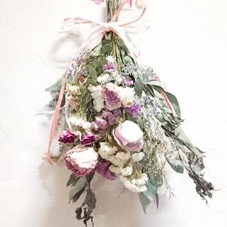 ひとみんさん専用三点、淡いピンク薔薇達、ナチュラルのスワッグ(ドライフラワー)