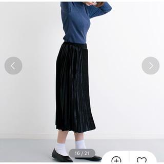 e7a01792513f08 メルロー(merlot)のmerlot ベロアプリーツスカート ブラック(ロングスカート)