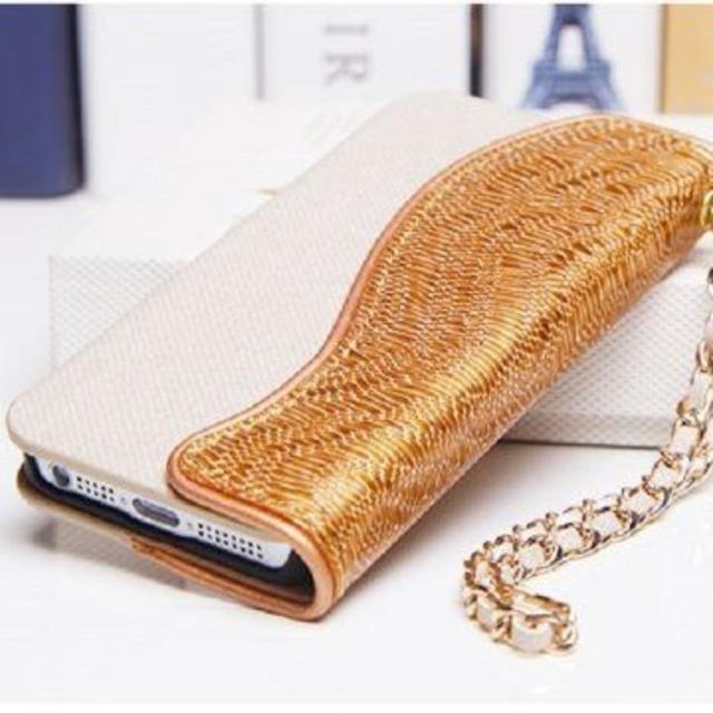 ISIDO 本革 iPhone SE/5s/ 5 ゴールド 手帳型 レザーケースの通販 by 666market's shop|ラクマ